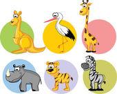 набор милый мультфильм животных — Cтоковый вектор