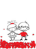 Valentine doodle boy and girl — ストックベクタ