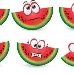 Set of cartoon cute watermelons — Stock Vector #33002019