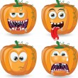 Cartoon pumpkins for halloween — 图库矢量图片