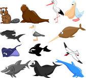 Set of cute cartoon animals — Stock Vector