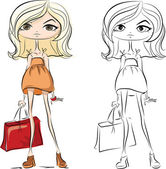 Cartoon fashionable girls — Cтоковый вектор