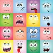 Stock Vector: Cartoon faces with emotions