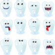 Cartoon cute teeth with different emotions — Stock Vector