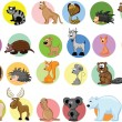 Set of cute cartoon animals — Stok Vektör