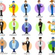 Cartoon characters of different professions — Stok Vektör