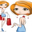 Cartoon fashionable girls — Imagen vectorial