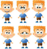 Cute cartoon boys with different emotions — Stock Vector