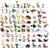 Super set of 91 cute cartoon animals — Stock Vector
