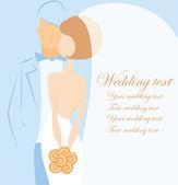 Silhouette della sposa e dello sposo — Vettoriale Stock