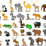 Lion, kangaroo, giraffe, elephant, camel, antelope, hippo, tiger, zebra, rhinoceros — Stock Vector #36344739
