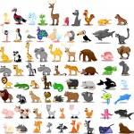 Lion, kangaroo, giraffe, elephant, camel, antelope, hippo, tiger, zebra, rhinoceros — Stock Vector #36344819