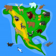 Animals of North America — Imagen vectorial