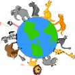 Animals around the Earth — Image vectorielle
