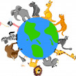 Animals around the Earth — Imagen vectorial