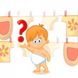 Cute baby with question mark — Stock Vector