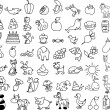 Set of icons of animals, food — Stock Vector
