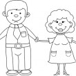 Happy family holding hands — Stock Vector