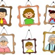 Portraits of family members, mother, father, daughter, son, grandparents — Stock Vector