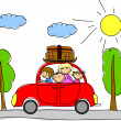 Happy family going on holiday by car — Stock Vector #36347179