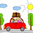Stock Vector: Happy family going on holiday by car