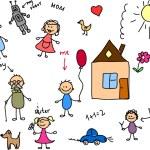 Happy family, children's drawing — Stock Vector #36347259