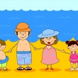 Happy family holding hands in bathing suits at sea — Imagens vectoriais em stock