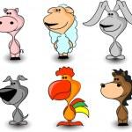 Set domestic farm animals, — Stock Vector #36347513