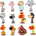 Set domestic farm animals, — Stock Vector #36347521