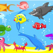 Fishes in the sea — Stock Vector