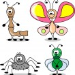 Cartoon set of different insects — Stock Vector