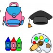 School supplies, school children — Stock Vector