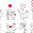 Cartoon wedding pictures — Stock vektor