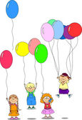 Children hold balloons, greeting card — Stock Vector