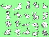 在绿色背景上的动物 — 图库矢量图片
