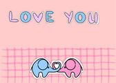 Love elephants — Stockvector