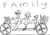 Family on a bicycle — Stock Vector