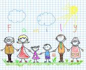 Šťastná rodina, drželi se za ruce a s úsměvem — Stock vektor