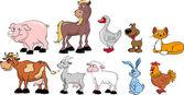 Animales domésticos, que viven en una granja — Vector de stock