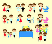 Collection family icons — Stock Vector