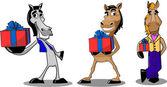 Tre cavalli con regali — Vettoriale Stock