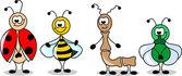 Kreslený sada různých hmyzu — Stock vektor