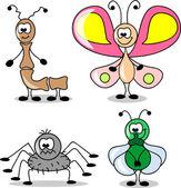 さまざまな昆虫の漫画の設定 — ストックベクタ