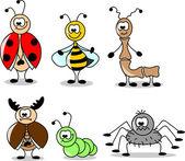 Dessin animé ensemble de différents insectes — Vecteur