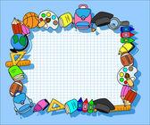 School supplies, the frame — Stock Vector