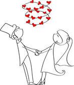 Hochzeit, Braut und Bräutigam in der Liebe — Stockvektor