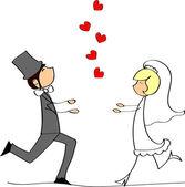 Wedding, bride and groom in love — Stock Vector