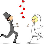 Wedding, bride and groom in love — Wektor stockowy