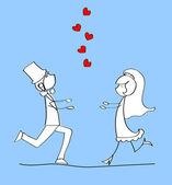 Свадьба, невеста и жених в любви — Cтоковый вектор