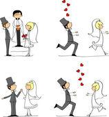 Wedding pictures, bride and groom in love — Stock Vector